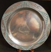 Wilton Armetale Holloware Turquoise Zia Oval Pewter Platter 14.25 Excellent