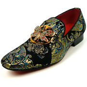 Fi-7427 Black Blue Parsley Butterfly Ornament Loafer Fiesso By Aurelio Garcia