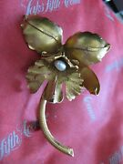 Beautiful 18k Yellow Gold Large 2 3/4 Orchid Brooch Set With Pearl 1 Sepal.