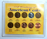 Rare Set Of 10 Coins Century Of American Cents 1909-2000 Indian-lincoln Cents