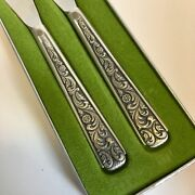 Rokokko Pewter Hardanger Scroll Floral Set Of 2 Butter Cheese Spreaders Nib