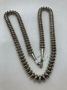 Sterling Silver .925 Handmade Signed Rt Navajo 10mm Saucer 29 Necklace