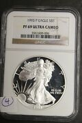 1993 P American Eagle Silver Proof Dollar, Ngc Pf69 Ultra Cameo, S1, 4