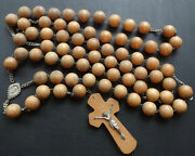 Vintage Very Big Carved Wood Bead Catholic Rosary Crucifix Necklace Modernist