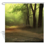 Woodland Shower Curtain With Bath Rugs Wild Animal Wolf In Natural Misty Forest