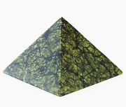 Green Russian Serpentine Stone Hand Carved Pyramid Crystal Healing 3 1/8