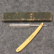 King Razor Co. Indiana Pa 6 Straight Razor King Barber Ivory Colored Celluloid