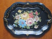 Vintage Black Multi Colored Hand Painted Pastel Flowers Tole Tray 18 X 13