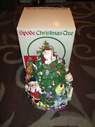 Vintage Spode Porcelain Hand Painted Toys Around Christmas Tree Cookie Jar W/box