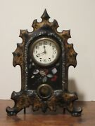 Antique Cast Iron Clock W Mother Of Pearl And Golden Decoration Works Perfectly
