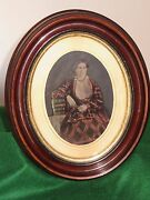 Antique Oval Wood Picture Frame W Old Glass And Old Photograph Of A Woman