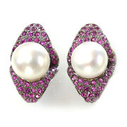 11 Mm White Freshwater Pearl And Sapphire Solid 14k White Gold Omega Earrings 25mm