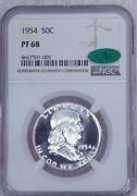 1954 Franklin Silver Half Dollar Ngc Pf68 Cac White Proof Superb Luster, Pq G8