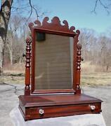 Antique Chippendale Style Dresser Top Shaving Mirror Stand Vanity Jewelry Box