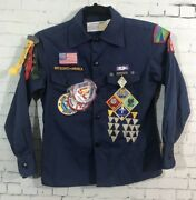 Vintage Boy Scout Cub Shirt Navy Blue Size 10 Embroidered Patches And Many Pins