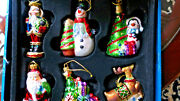 6 Glass Christmas Ornaments Molded Glass /storage Tray Beautiful 5 And 6