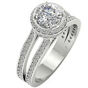 1.35 Ct Center Diamond Halo Solitaire Engagement Ring I1 G 2.35 Tcw 14k Gold