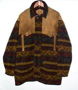 Vtg Woolrich Menand039s Wool Aztec Indian Blanket W/ Leather Yoke Coat. Size L