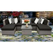 Tk Classics Florence 7 Piece Outdoor Sectional Seating With Cushions In Black