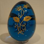 Baccarat Egg Decor Art Collectible Blue Rare Crystal Glass Easter F/s Japan