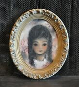 Vintage Painting Of Young Girl And Butterflies - Oval Frame - Ann Rugh Baker 1930-