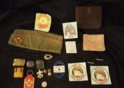 Vintage Boy Scout Lot - Slides - Leather Pouch - Hat - Stickers - Code Book