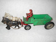 13 In Arcade Cast Iron Contractors Dump Wagon W/two Horse Drawn And Driver Orig