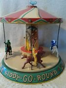 Vintage Unique Art Tin Litho Kiddy-go-round Wind-up Toy W/ Replacement Key