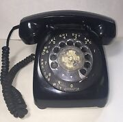 Vintage Black Rotary Telephone Automatic Electric -hard Wired-u.s.a.