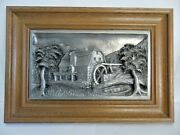 Pewter Heavy 3d Stunning Detail Picture Of Farmhouse And Old Mill Water Wheel Euc