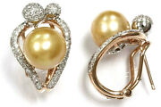 10 Mm Tahitian Gold Pearl And Diamond Solid 14k Two Tone Gold Omega Back Earrings
