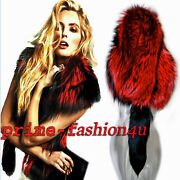 Dolce And Gabbana Black Needle Red Fox Fur Stole Shawl Scarf Cape Wrap For Dress