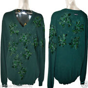 Dolce And Gabbana Dandg Crystal Beads Embellishment Vintage Green Cashmere Sweater