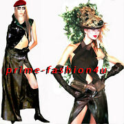 John Galliano Christian Dior Brown Distressed Leather Wrap Long Vinage Skirt