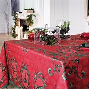 Beauville Winter Red French Holiday / Christmas Tablecloth 67 X 94 New