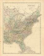 Antique 19thc 1848 Handcolored Map United States Eastern Blackandrsquos General Atlas