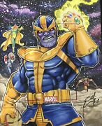 Marvel Bronze Age Thanos Ap Sketch Card By Eric Mcconnell W/ Infinity Gauntlet