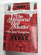 The Memorial Hall Murder By Jane Langton. Hc/dj 1st Edition Signed By Author