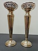 Antique Walker And Hall Pair Of Sheffield Sterling Silver Candlesticks