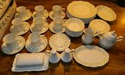 Vintage 52 Pcs Of J.g. Meakin English Ironstone Sterling Forget Me Not China