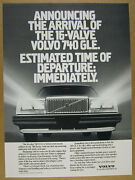 1989 Volvo 740 Gle 16-valve And039announcingand039 Photo Vintage Print Ad