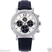 New Menand039s Disney Mickey Mouse Versailles Chronograph Leather Watch Htf