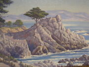 Ca Oil Painting O/c The Lone Cypress Signed Artist Charles Wesley Nicholson