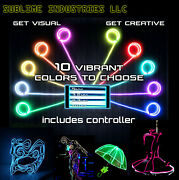 Neon Light Glow El Wire String Strip Rope Decor Party + Sound Active Controller