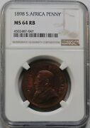 South Africa 1 Penny 1898 Ngc Ms64 Johannes Paulus Kruger 1883 - 1902