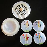 Antique, French, Mother Of Pearl, Whist Box And Marker Set, Mop Game Card