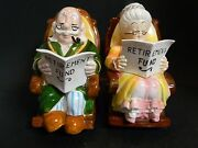 Vintage Lefton Grandma And Grampa In Rockers Retirement Fund Piggy Banks Excell