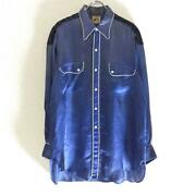 Leviand039s 30and039s Vintage Rodeo Shirt Satin Blue Rare From Japan Free Shipping