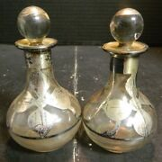 Antique Pair Of Sterling Silver Overlay Clear Glass Perfume Bottles 4 X 2.25