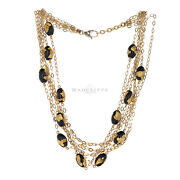 8 Strand Black Oval Bead And Gold Leaf Necklace 18k Yellow Gold 16